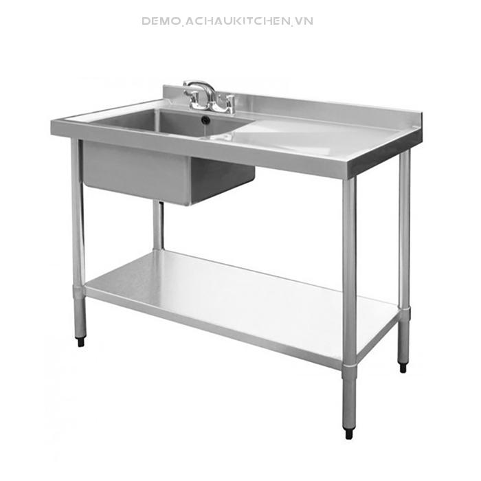 Chậu rửa inox công nghiệp 1 hố kèm bàn (1)