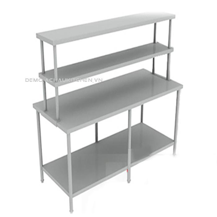Bàn inox công nghiệp 2 tầng có giá 2 tầng trên bàn (1)